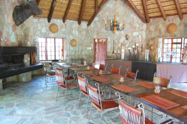 Breakfast and lunch at Kapama Buffalo Camp are served in an open-air covered dining room