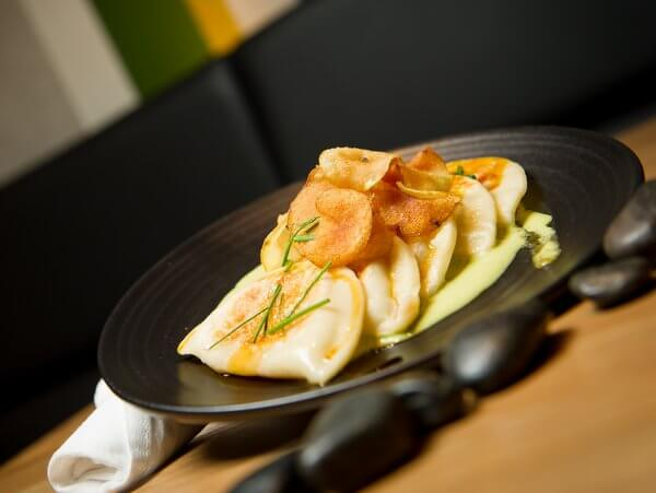 Squash Pierogi at forage restaurant, Listel Hotel, Vancouver, British Columbia, Canada