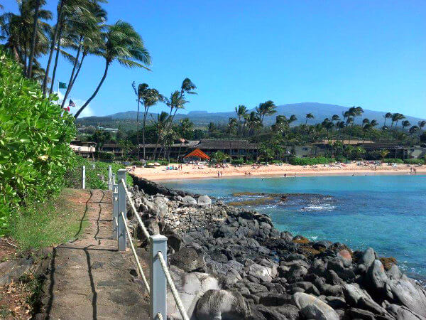 A short walk along the shore leads to the beach at Napili Kai