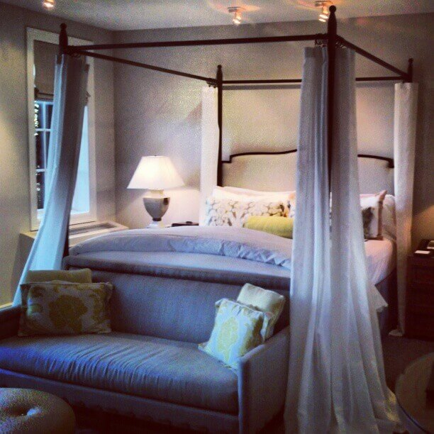 Stylish rooms at Hotel Yountville have spa tubs and four-poster beds