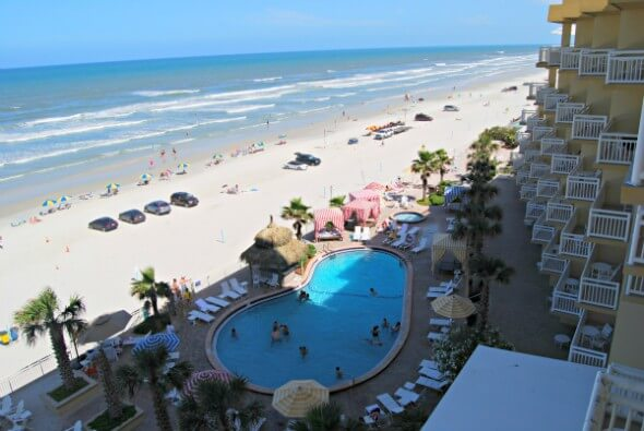 View of the Atlantic Ocean from your Shores Resort & Spa suite, overlooking the pool and beach from s