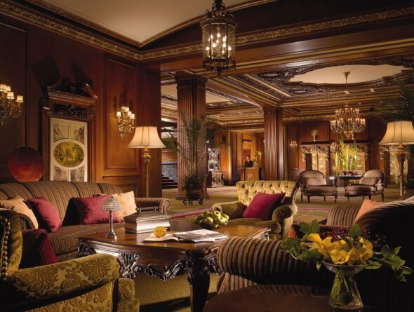 "The grand ""Old World"" style lobby at the Omni Parker House"