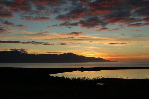 The sunset view from Kaldbaks-Kot