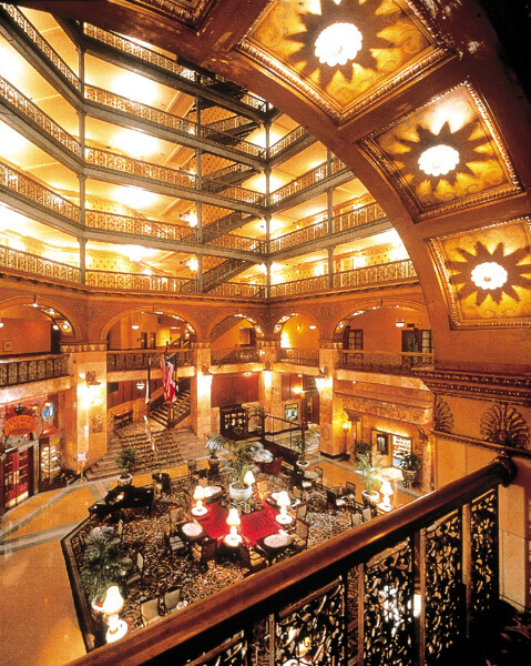The atrium lobby at the Brown Palace