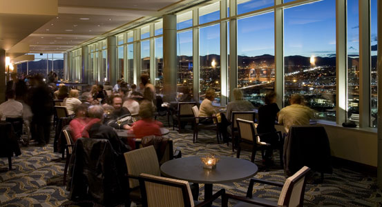 The view from Peaks Lounge at Hyatt Regency Denver