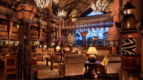 African-inspired architecture starts in the lobby of the Animal Kingdom Lodge