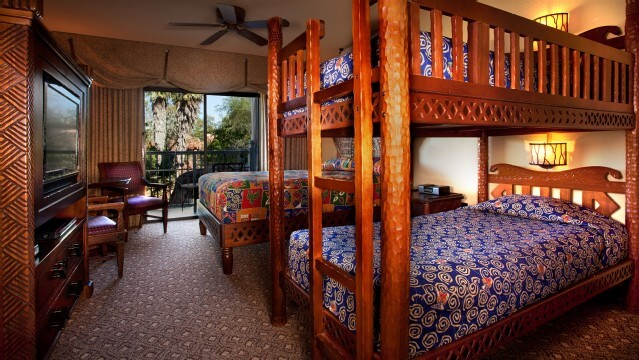 Family-friendly accommodations include bunkbeds at the Animal Kingdom Lodge in Walt Disney World.