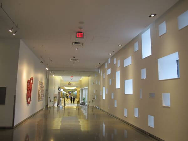 The Skyway hallway that connects the Radisson Blu to the Mall of America. The various shaped windows were designed to represent snowflakes.
