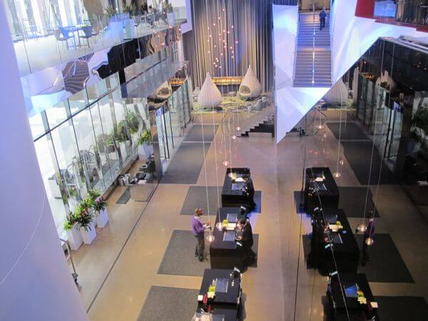 Overlooking the Radisoon check-in lobby from the Skyway above