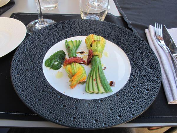 Stuffed fresh zucchini blossoms for lunch on the terrace of Marseille's InterContinental Hotel
