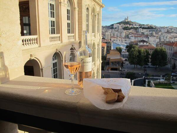 View from a 5th floor room's open terrace balcony at Marseille's Intercontinental Hotel