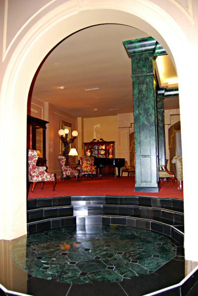 Cozy corners off the grand lobby of the Natchez Eola Hotel