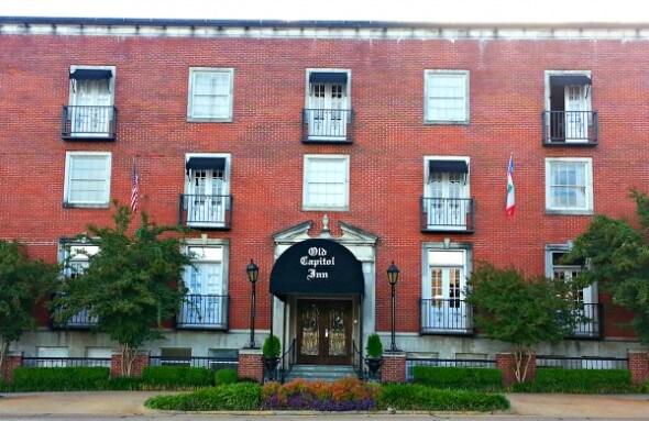 Exterior of  historic Old Capitol Inn, Jackson, Mississippi