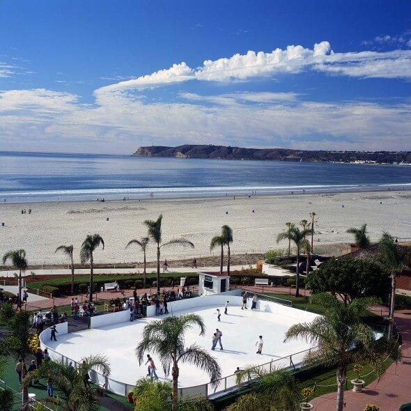 Beachfront ice skating at the Hotel del Coronado, San Diego