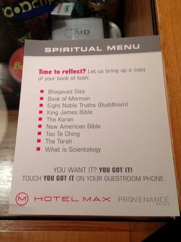 Spiritual menu Hotel Max Seattle Washington