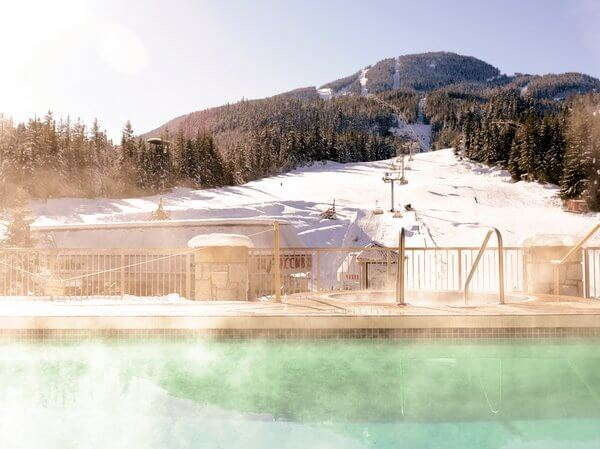 Mountain-facing heated pool, Pan Pacific Whistler Mountainside, Whistler, British Columbia Canada