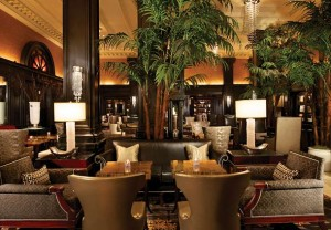 The rich, polished wood lobby