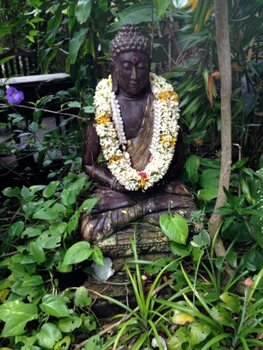 Buddha in the Garden, Fenua Mata'i'oa, Moorea, French Polynesia