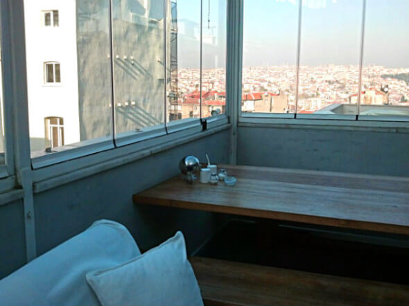 The rooftop deck also offers great views of Istanbul.