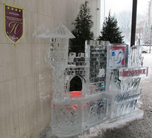 An ice sculpture outside the Hilton Quebec hotel