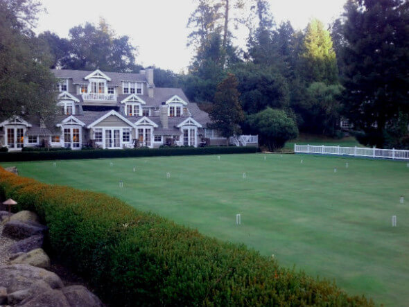 The croquet lawn, with rooms overlooking it