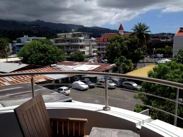 Outdoor deck, Hotel Tahiti Nui, Papeete, Tahiti, French Polynesia