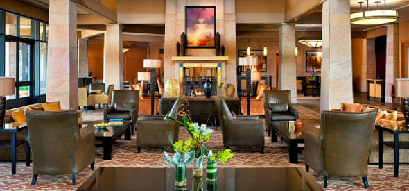 Westin Westminster's expansive lobby is warm and cozy.