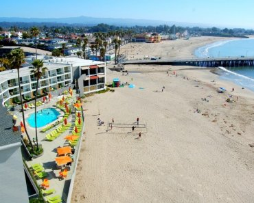 Cowell's Beach and the Dream Inn Pool, as seen from the 9th floor