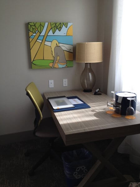 Guest room desk and art, Shorebreak Hotel, Hungtington Beach, California