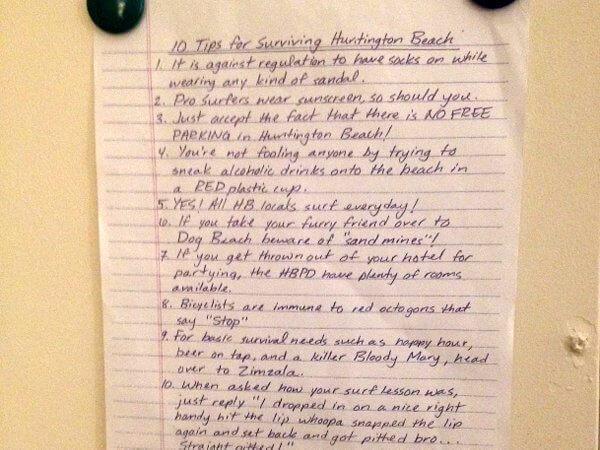 Survival tips, Shorebreak Hotel, Hungtington Beach, California