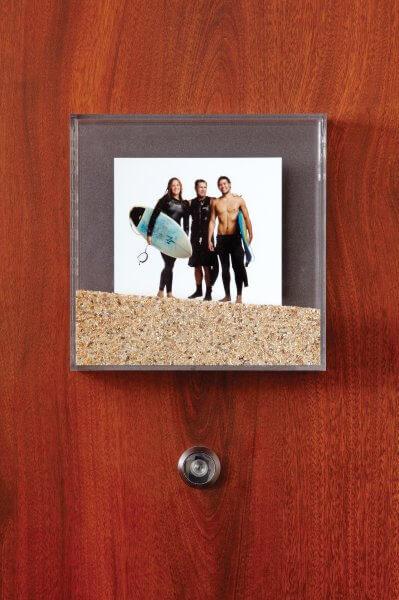 Surfers on the guest room doors, Shorebreak Hotel, Huntington Beach, California