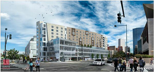 The Art Hotel, debuting in late 2014, near downtown Denver's Civic Center, Rendering by Corporex Colorado