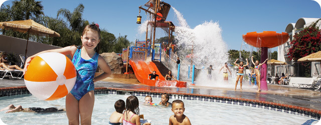 Castaway Cove, the kids' pool and playground at Howard Johnson Anaheim Hotel