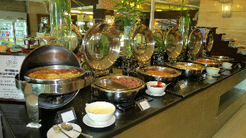The buffet breakfast has ample choices to make everyone happy