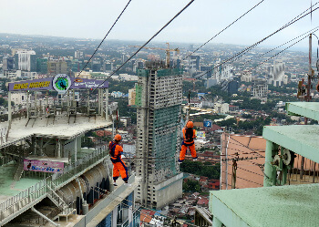 The Crown Regency zip line goes between two buildings at the 37th floor