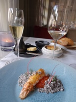Roasted langoustine at Bridges restaurant