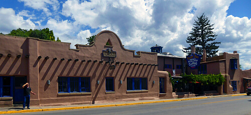 The Historic Taos Inn is a series of adobe buildings and courtyards.