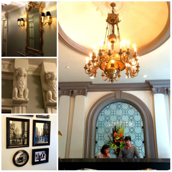 Original period details like mirrors, light fixtures, carvings, and the lobby chandelier
