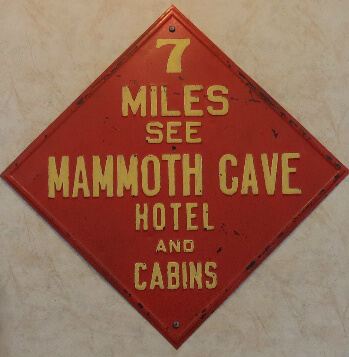 Historic Mammoth Cave Hotel sign in the hotel's main restaurant