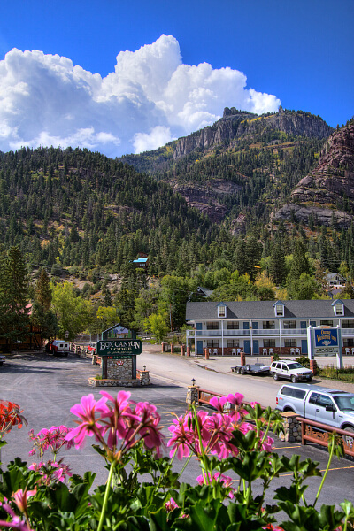 The magnificient San Juan Mountains provide the backdrop of the Box Springs Lodge & Hot Springs in Ouray, Colorado