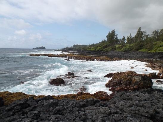On the shore of Travaasa Hana in Maui