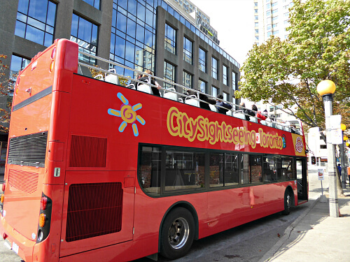Right outside the hotel front entrance, hop on the Toronto Double-Decker City Tour, courtesy of City Sightseeing Toronto