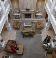 Looking down at the lobby at Oceano Hotel