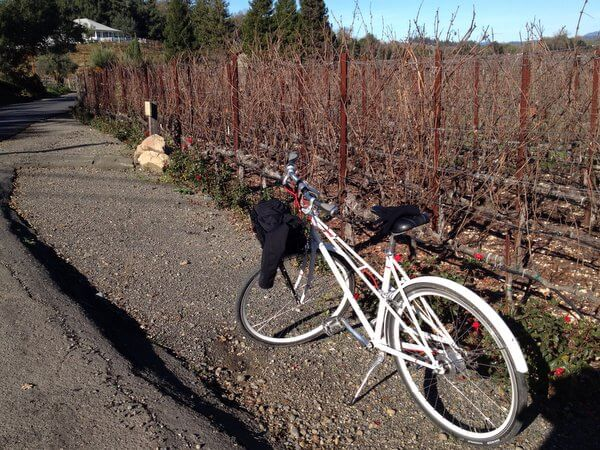 H2 Hotel bicycle in the vineyard, Healdsburg, California