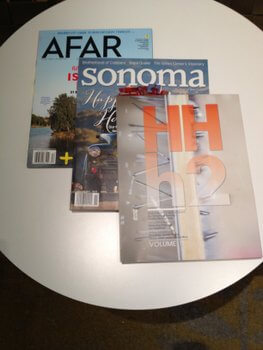 H2 Hotel magazines, Healdsburg, California