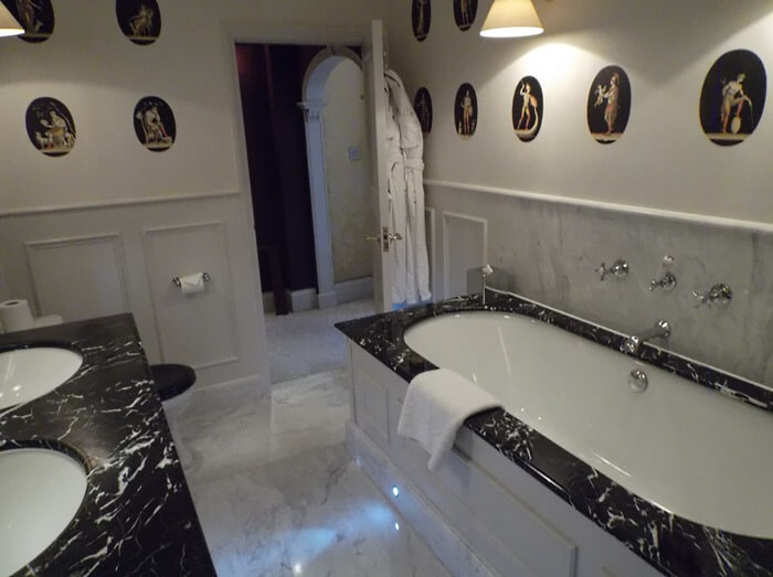 "Bathroom of ""most splendid room"" at the Goring"