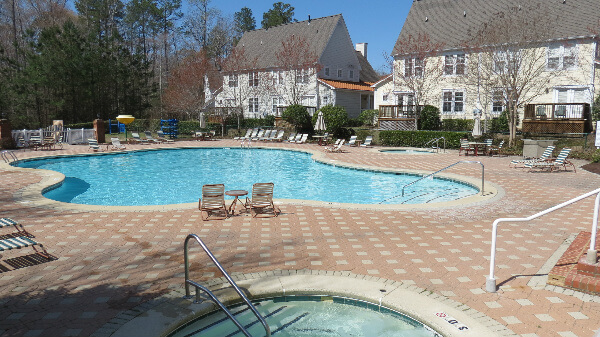 One of the two outdoor pools