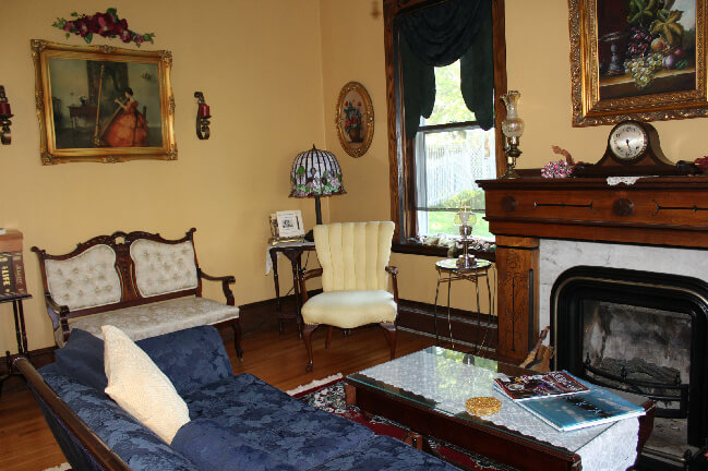 A downstairs common area sitting room
