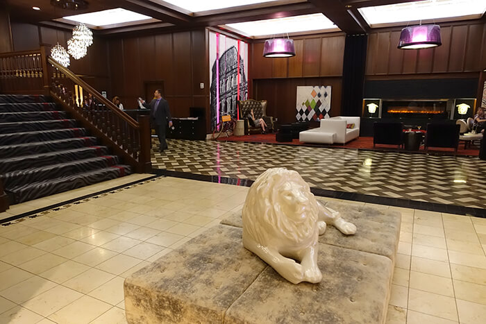 Then There S The Great Lion Sculpture Reclining On A Seating Ottoman First Thing Visitors See At Top Of Entryway Partial Stairway Leading Into