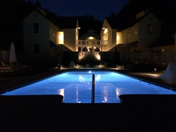 Farmhouse pool by night
